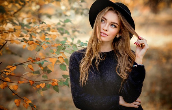 Picture autumn, leaves, branches, pose, portrait, hat, makeup, hairstyle, brown hair, beauty, in black, bokeh, Bogdana, …