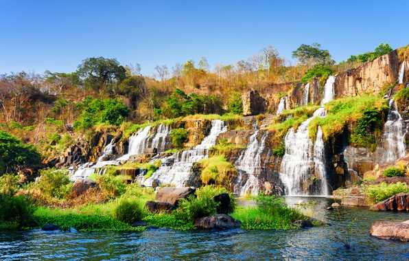 Picture the sky, trees, stones, waterfall, Vietnam, Sunny, cascade, the bushes, thresholds, Pongour waterfall