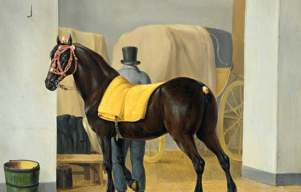 Picture animals, horse, oil, picture, canvas, Anthony Oberman, Trotter in the Stable