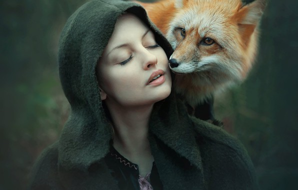 Picture girl, mood, Fox, hood, red