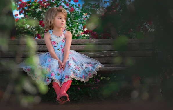 Picture bench, mood, boots, garden, dress, girl