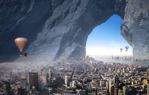Picture sea, the sky, flight, the city, fog, balloon, rendering, fiction, rocks, stone, view, building, height, …