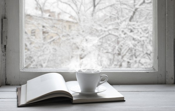 Picture winter, snow, window, Cup, book, hot, winter, snow, cup, window