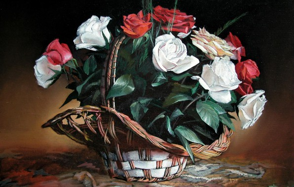 Picture red, white, still life, Aibek Begalin, A basket of roses, 2005.
