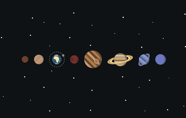 Picture space, stars, planet, vector, solar system