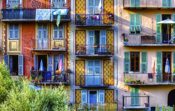Picture France, home, balcony, facade, Sospel