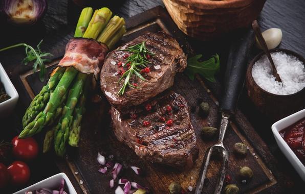 Picture meat, bacon, spices, asparagus, steak