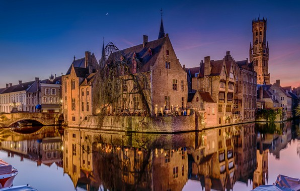 Picture night, bridge, lights, reflection, home, channel, Belgium, Bruges