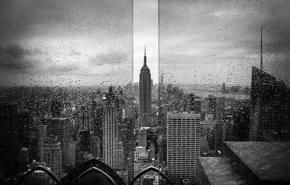 Picture glass, drops, the city, rain, USA, The Empire State Building, New York, black and white ...