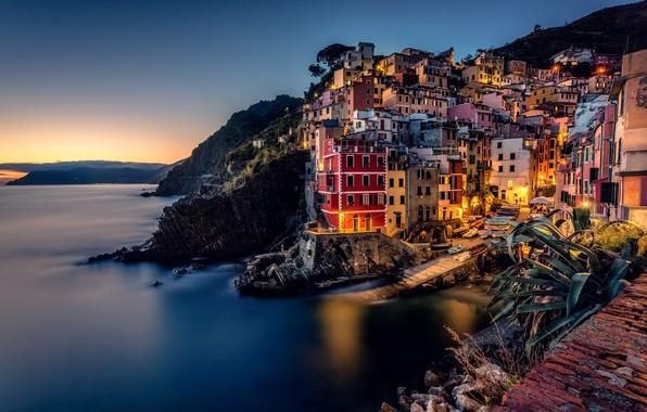 Picture sea, coast, building, home, Italy, Italy, The Ligurian sea, Riomaggiore, Riomaggiore, Cinque Terre, Cinque Terre, …