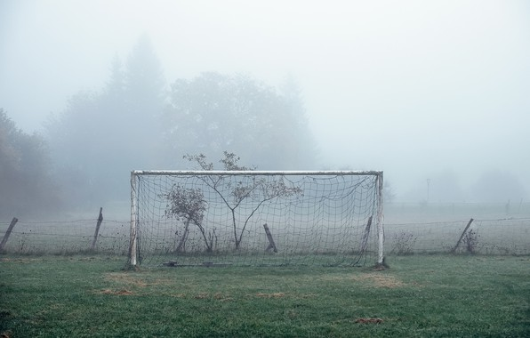 Picture field, fog, football, sport, gate