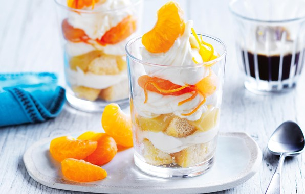 Picture cream, dessert, Mandarin