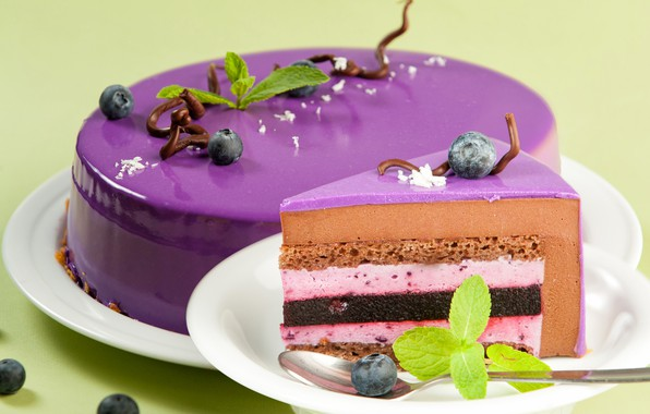 Picture cake, mint, glaze, blueberries