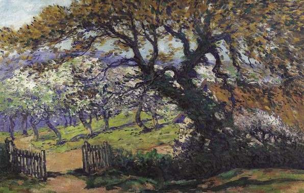 Picture tree, the fence, picture, garden, Landscape, Fernand Maillaud