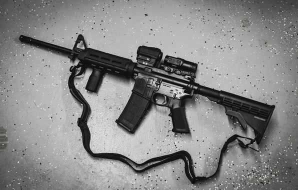 Picture background, AR-15, a semi-automatic rifle