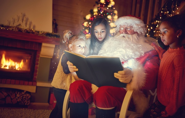 Picture children, book, fireplace, new year, Santa Claus, devochki