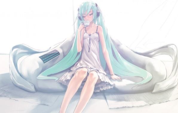 Picture sofa, headphones, Cup, vocaloid, hatsune miku, long hair, Vocaloid, white sundress