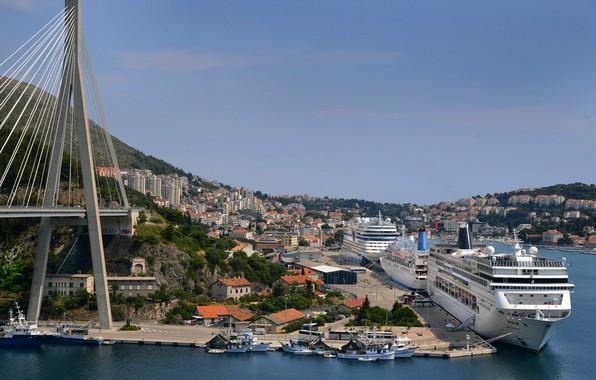 Picture bridge, ship, home, pier, support, panorama, liner, Croatia, Dubrovnik