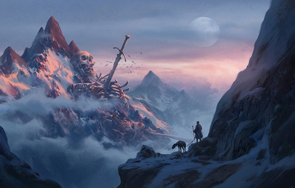 Picture sake, moon, sword, fantasy, sky, weapon, mountains, clouds, snow, man, explorer, artwork, bones, fantasy art, ...