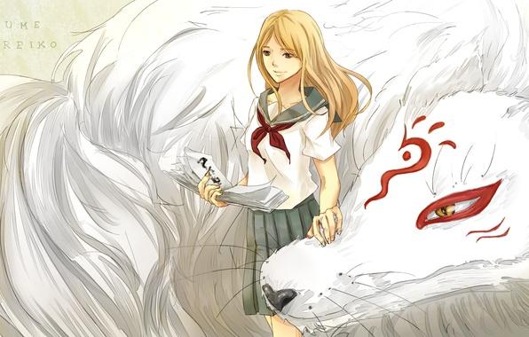 Picture girl, smile, anime, form, schoolgirl, madara, Natsume Yuujinchou, the Natsume book of friendship, nyanko-sensei, nhibii, …