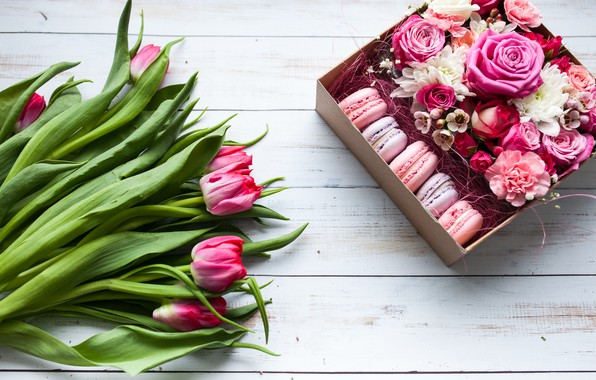 Picture flowers, box, gift, bouquet, wood, pink, tulips, macaron