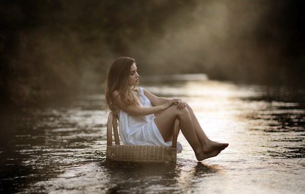 Picture girl, river, chair, Laulights