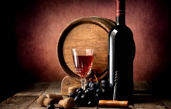 Picture table, wine, red, Board, glass, bottle, grapes, tube, twilight, barrel, corkscrew