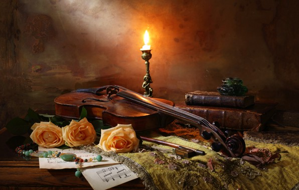 Picture violin, books, roses, candle