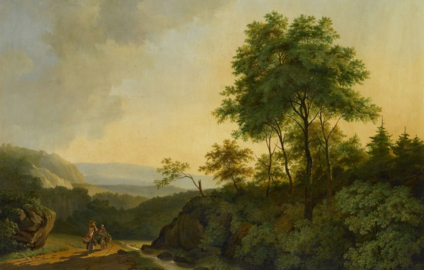 Picture landscape, picture, canvas, The Harz Mountains, Cornelis Francois Roos