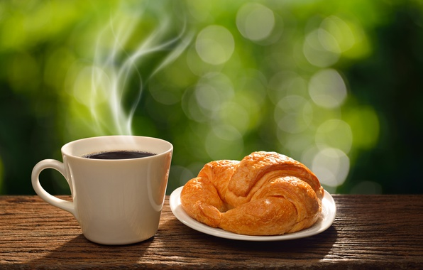 Picture coffee, Breakfast, morning, Cup, hot, coffee cup, good morning, breakfast, croissant