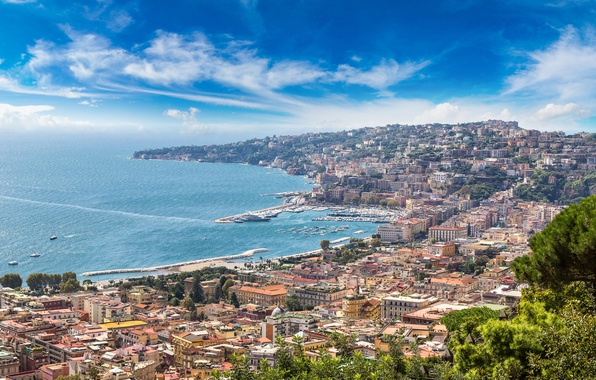 Wallpaper italy travel europe panorama coast the city - Naples italy wallpaper ...