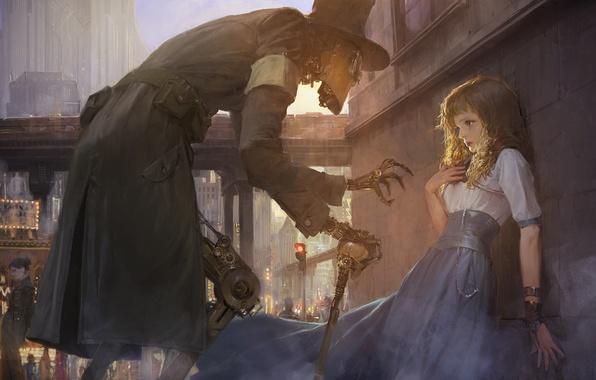Picture city, future, girl, fantasy, robot, gear, painting, buildings, artwork, fantasy art, Steampunk, futuristic