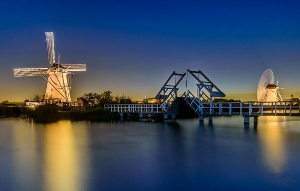Picture night, bridge, lights, channel, Netherlands, windmill, Kinderdijk