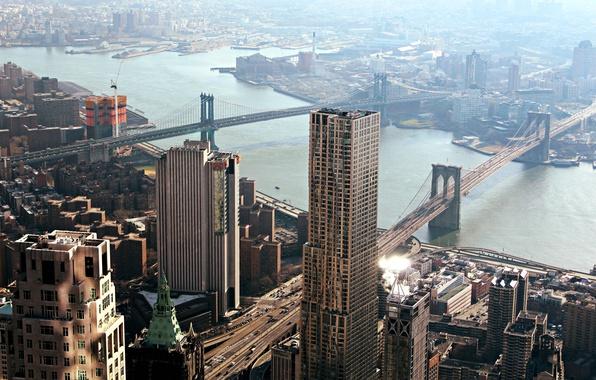 Photo wallpaper Skydeck Chicago, panorama, home, New York City, Chicago, Manhattan Bridge, the city, city, architecture, Brooklyn ...