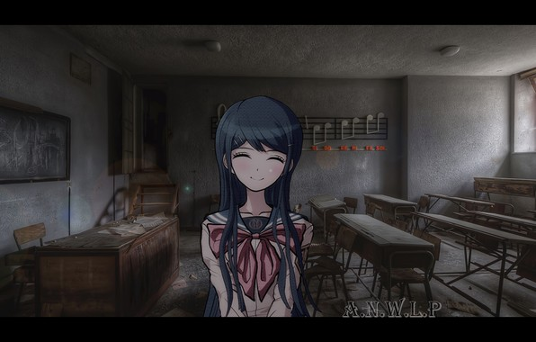 Picture girl, smile, the building, anime, school, Chan, madskillz