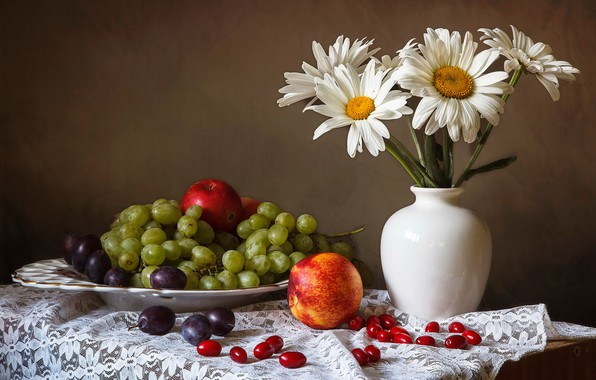 Picture flowers, table, apples, chamomile, plate, grapes, vase, still life, plum, tablecloth