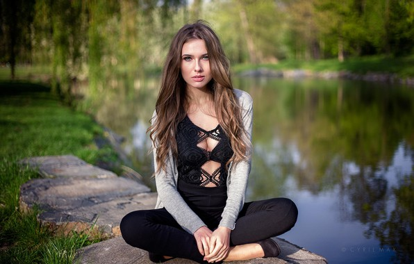Picture greens, trees, pose, pond, Park, model, portrait, makeup, hairstyle, outfit, brown hair, beauty, sitting, nature, …