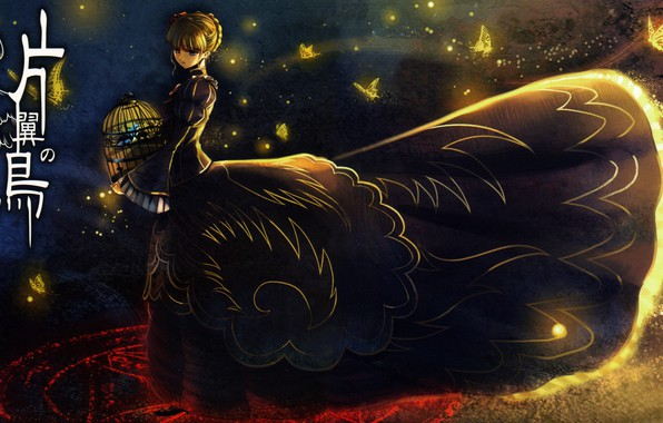 Picture butterfly, night, cell, characters, witch, pentagram, bangs, Umineko no Naku Koro ni, Beatrice, When the …