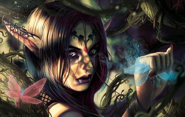 Picture look, plants, spikes, fantasy, elf, ears, art