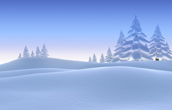 Picture Winter, Trees, Snow, Spruce, Rendering, The snow