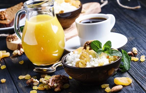 Wallpaper coffee, Breakfast, mint, cheese, raisins, orange juice, decanter, walnuts, candied