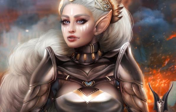 Picture girl, elf, warrior, beauty, ears, white hair, Antalya