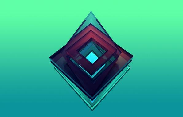 Picture cube, cube, Burgundy, green, square, emerald, celadon, light green emerald