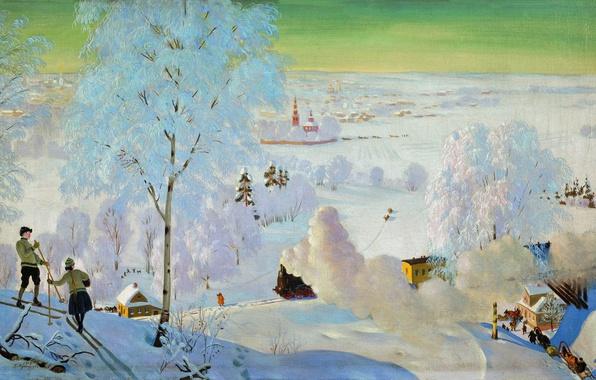Picture winter, oil, train, Skiers, couples, sleigh, Canvas, Boris KUSTODIEV, 1919