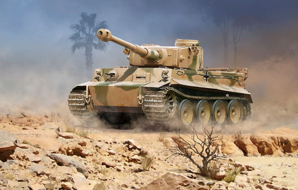 Picture Germany, art, Tank, Heavy, Tiger I, DAK, German Afrika Korps, Pz.Kpfw.VI Ausf.H