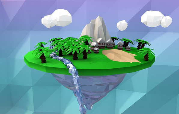 Picture sand, clouds, trees, rock, river, palm trees, mountain, home, rock, house, sand, low poly
