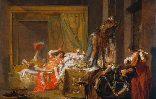 Picture tree, oil, picture, mythology, Nikolaus Knupfer, The scene of the Marriage of Messalina and Gaius …
