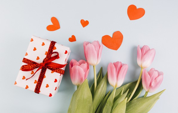 Picture gift, bouquet, hearts, tulips