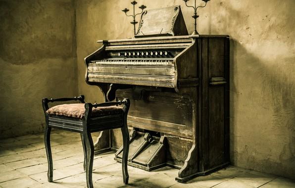 Picture retro, interior, chair, tool, piano
