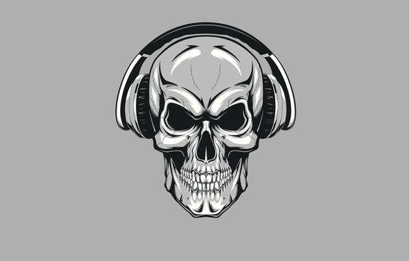 Picture skull, minimalism, headphones, skeleton, sake